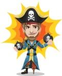 Peg Leg Pirate Cartoon Vector Character AKA Captain Austin - Shape 7