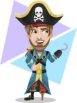 Peg Leg Pirate Cartoon Vector Character AKA Captain Austin - Shape 10