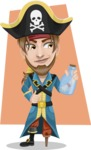 Peg Leg Pirate Cartoon Vector Character AKA Captain Austin - Shape 11