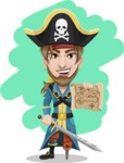 Peg Leg Pirate Cartoon Vector Character AKA Captain Austin - Shape 12