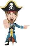 Peg Leg Pirate Cartoon Vector Character AKA Captain Austin - Direct Attention 2