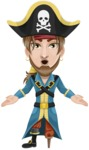 Peg Leg Pirate Cartoon Vector Character AKA Captain Austin - Stunned