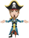 Peg Leg Pirate Cartoon Vector Character AKA Captain Austin - Shocked