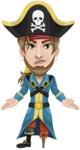 Peg Leg Pirate Cartoon Vector Character AKA Captain Austin - Lost