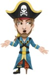Peg Leg Pirate Cartoon Vector Character AKA Captain Austin - Lost 2