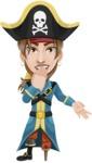 Peg Leg Pirate Cartoon Vector Character AKA Captain Austin - Blank