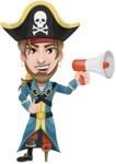 Peg Leg Pirate Cartoon Vector Character AKA Captain Austin - Loudspeaker