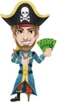 Peg Leg Pirate Cartoon Vector Character AKA Captain Austin - Show me the Money