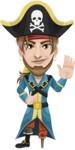 Peg Leg Pirate Cartoon Vector Character AKA Captain Austin - Wave