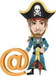 Peg Leg Pirate Cartoon Vector Character AKA Captain Austin - E-mail