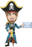 Peg Leg Pirate Cartoon Vector Character AKA Captain Austin - Letter