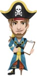 Peg Leg Pirate Cartoon Vector Character AKA Captain Austin - Note 1