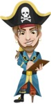 Peg Leg Pirate Cartoon Vector Character AKA Captain Austin - Note 2