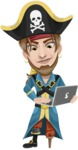 Peg Leg Pirate Cartoon Vector Character AKA Captain Austin - Laptop