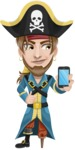 Peg Leg Pirate Cartoon Vector Character AKA Captain Austin - iPhone