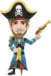 Peg Leg Pirate Cartoon Vector Character AKA Captain Austin - Gun 1