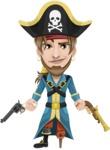 Peg Leg Pirate Cartoon Vector Character AKA Captain Austin - Gun 2