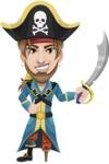 Peg Leg Pirate Cartoon Vector Character AKA Captain Austin - Sword 1