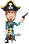 Peg Leg Pirate Cartoon Vector Character AKA Captain Austin - Sword and Gun