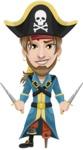 Peg Leg Pirate Cartoon Vector Character AKA Captain Austin - Daggers