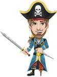 Peg Leg Pirate Cartoon Vector Character AKA Captain Austin - Sword and Dagger