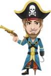 Peg Leg Pirate Cartoon Vector Character AKA Captain Austin - Gun and Hook