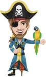 Peg Leg Pirate Cartoon Vector Character AKA Captain Austin - Eyepatch and Parrot