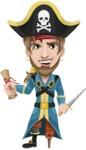 Peg Leg Pirate Cartoon Vector Character AKA Captain Austin - Map and Dagger