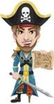 Peg Leg Pirate Cartoon Vector Character AKA Captain Austin - Sword and Open map