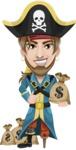 Peg Leg Pirate Cartoon Vector Character AKA Captain Austin - Bag of money