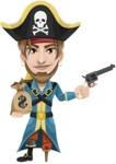 Peg Leg Pirate Cartoon Vector Character AKA Captain Austin - Bag of money and Gun