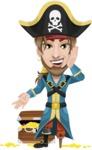 Peg Leg Pirate Cartoon Vector Character AKA Captain Austin - Treasure chest 2