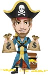 Peg Leg Pirate Cartoon Vector Character AKA Captain Austin - Treasure chest and bags of money