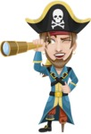 Peg Leg Pirate Cartoon Vector Character AKA Captain Austin - Spy glass