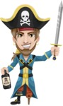 Peg Leg Pirate Cartoon Vector Character AKA Captain Austin - Bottle of rum and Sword