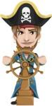 Peg Leg Pirate Cartoon Vector Character AKA Captain Austin - Ship wheel