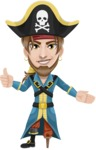 Peg Leg Pirate Cartoon Vector Character AKA Captain Austin - Show 2