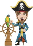 Peg Leg Pirate Cartoon Vector Character AKA Captain Austin - Ship wheel and Parrot