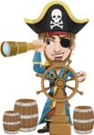 Peg Leg Pirate Cartoon Vector Character AKA Captain Austin - Ship wheel and Spy glass