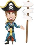 Peg Leg Pirate Cartoon Vector Character AKA Captain Austin - Crossroad