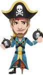 Peg Leg Pirate Cartoon Vector Character AKA Captain Austin - Bombs