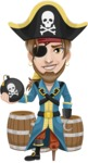 Peg Leg Pirate Cartoon Vector Character AKA Captain Austin - Barrels and Bomb