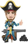 Peg Leg Pirate Cartoon Vector Character AKA Captain Austin - Cannon with cannon balls