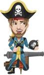 Peg Leg Pirate Cartoon Vector Character AKA Captain Austin - Cannon and Bomb