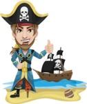 Peg Leg Pirate Cartoon Vector Character AKA Captain Austin - Pirate ship at sea