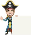 Peg Leg Pirate Cartoon Vector Character AKA Captain Austin - Sign 7