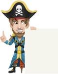 Peg Leg Pirate Cartoon Vector Character AKA Captain Austin - Sign 8