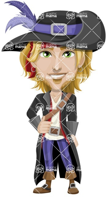 Man with Pirate Costume Cartoon Vector Character AKA Captain Jerad - Normal
