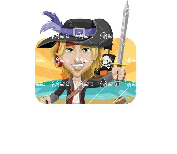 Man with Pirate Costume Cartoon Vector Character AKA Captain Jerad - Shape 2