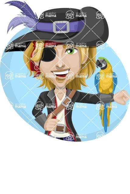 Man with Pirate Costume Cartoon Vector Character AKA Captain Jerad - Shape 3